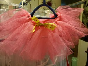 Bright Pink Fuchsia Elastic Waist Tutu with Green Bow for Baby, Infant, 2T Handmade by Me for Sale in Lewisville, TX