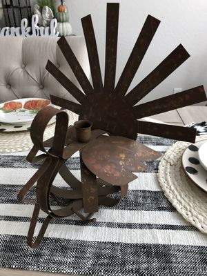 Super cute metal Turkey taper candle holder - great centerpiece for Thanksgiving for Sale in AZ, US