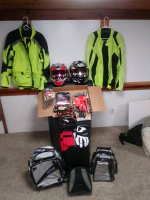 Motorcycle Gear (like new) - helmets, jackets, gloves, bags, tie down straps, 12 volt air pump, chain splicer for Sale in Cocoa Beach, FL