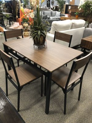 5-Piece Dining Set Ark Brown And Matte Black 200 for Sale in Castro Valley, CA