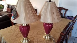 Burgundy Ceramic Table Lamp (Set of 2) for Sale in Whittier, CA