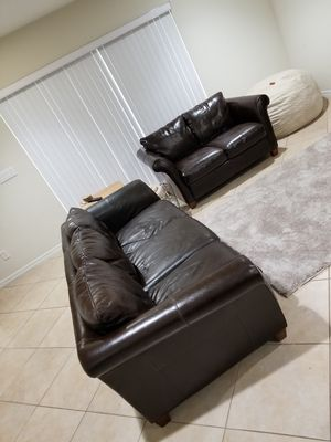 Real Leather Couches - Sofa Loveseat Chair for Sale in Boca Raton, FL