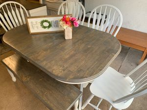 Wooden dining room with 4 chairs, a bench and 2 extensions in excellent condition. for Sale in Houston, TX