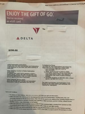 Delta $250.00 eGift card no expiration for Sale in Cary, NC