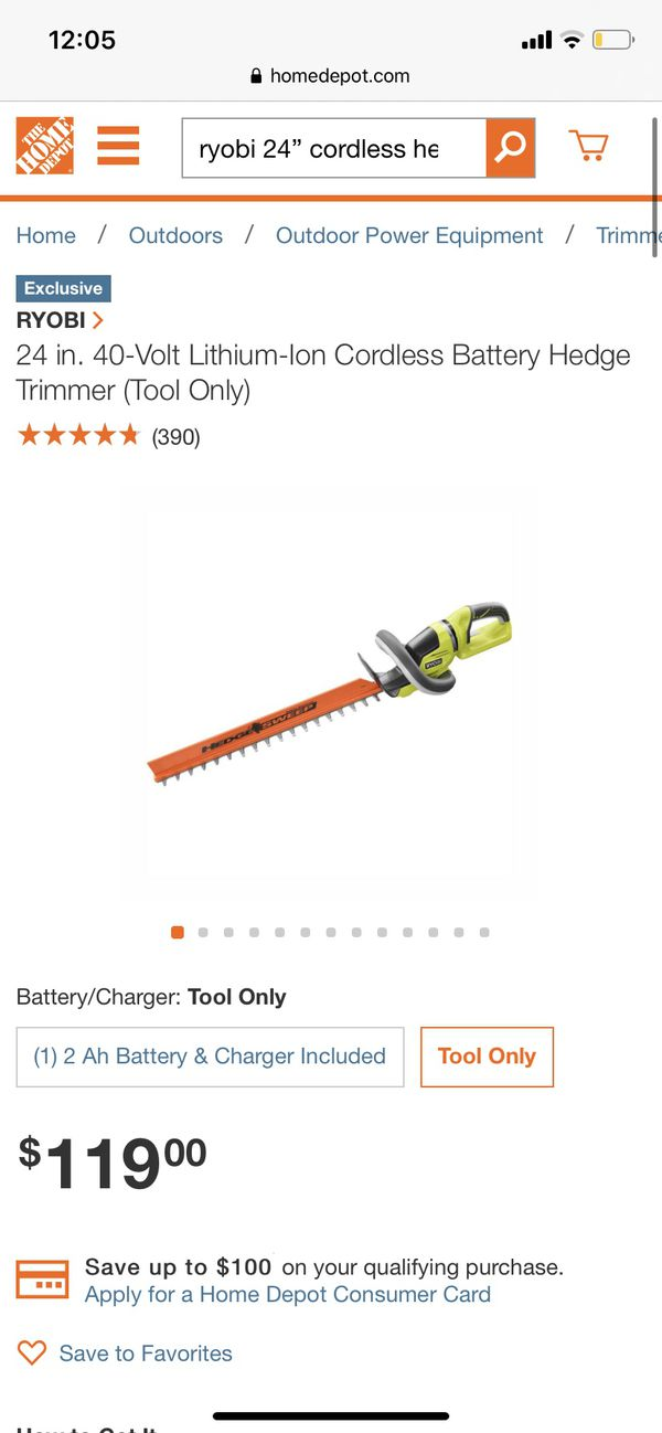 """RYOBI 24"""" Cordless Hedge Trimmer (TOOL ONLY)"""