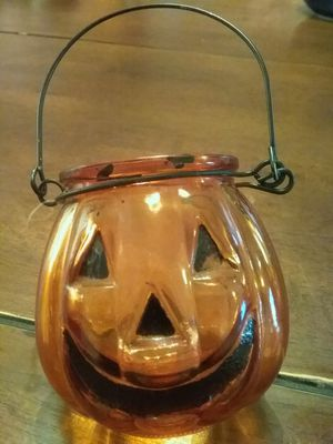 GLASS JACK-O-LANTERN DECORATION/ CANDLE HOLDER for Sale in San Leandro, CA