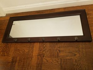 Wall mounted wood mirror with hooks for Sale in San Francisco, CA