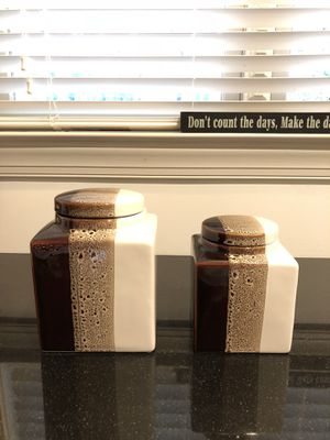Pier 1 set of 2 storage containers canisters cookie jars vase decor jar utensils storage for Sale in Atlanta, GA