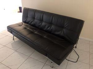 Leather futon coach for Sale in Pompano Beach, FL