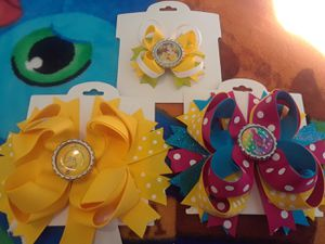 3 boutique style girls hairbows trolls big bird princess belle for Sale in Spokane Valley, WA