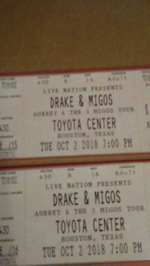 Drake & Migos concert. Pair for Sale in Rosenberg, TX