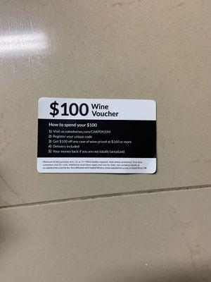 Wine voucher for Sale in Miami, FL