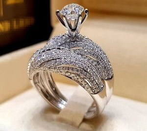 NEW Luxury Sterling Silver Ring Set for Women Couple White Sapphire Engagement Diamond Ring Anniversary Wedding propsal for Sale in Las Vegas, NV