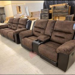 SPECIAL] Earhart Chestnut Reclining Living Room Set(LOVESEAT AND SOFA) byAshley🚛🚚SAME DAY DELIVERY for Sale in Greenbelt,  MD