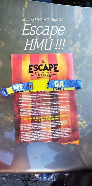 Escape GA 2 day pass for Sale in Palmdale, CA
