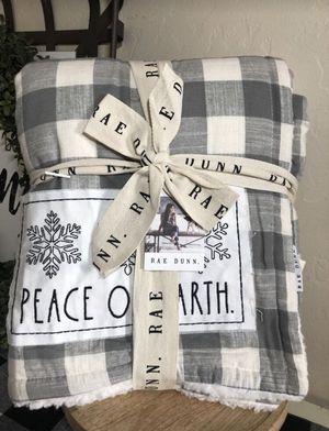 Rae Dunn Christmas PEACE ON EARTH Gray THROW Buffalo Plaid Blanket for Sale in San Bernardino, CA