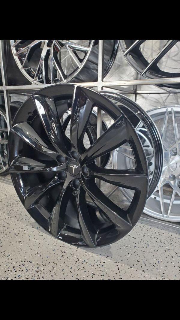 "22"" staggered gloss black turbine tesla style wheels fits model S and model x p100d rim tire wheel shop"