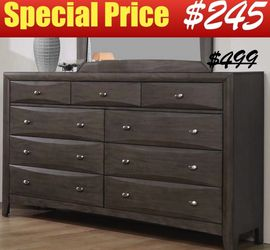 """63"""" Dresser with Nine Storage Drawers in Coco Grey Finish for Sale in Glendale,  CA"""