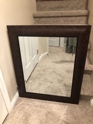 Gorgeous Burl Finish Framed & Beveled Mirror! for Sale in Sandy, UT