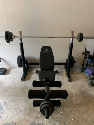 Mercy brand: Multi use Weight bench and weights for Sale in Ramsey, NJ