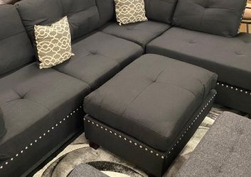 SPECIAL DEAL‼️ Black 3Pcs Sectional Sofa w/Ottoman (Reversible L/R Chaise)‼️ SAME DAY DELIVERY‼️No credit check‼️ for Sale in Las Vegas,  NV