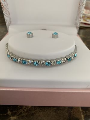 Silver tone 2 pieces set crystal birthstone bolo bracelet and stud earrings for Sale in Huntington Beach, CA