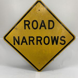 "Vintage real retired aluminum ROAD NARROWS sign. Measuring 30""x30"" for Sale in San Leandro, CA"