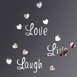 DIY Silver Love Live Laugh Heart Mirror Combination 3D Mirror Wall Stickers 🛳SHIPPING ONLY📦 for Sale in Fremont,  CA