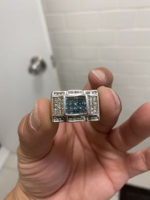 14k white gold with 3k princess cut diamonds ring for Sale in White Plains, NY