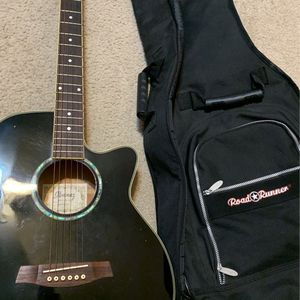 Ibanez All Black Electric/Acoustic Guitar With Carry Case for Sale in Delray Beach, FL