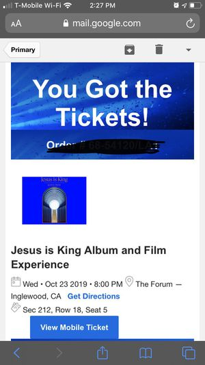 Jesus is King Album and Experience Ticket (SOLO) for Sale in Los Angeles, CA