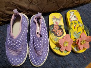 Kids summer shoes swim shoes flip flops ball caps so cute! for Sale in Denver, CO