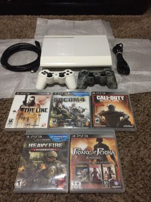 PS3 500gb White 2 controllers and 6 games for Sale in Salt Lake City, UT