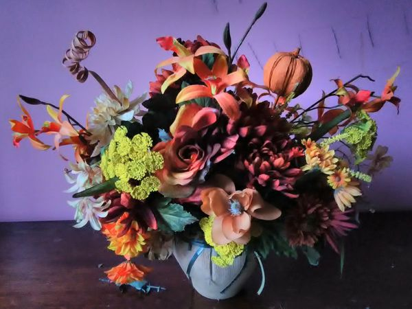 Artificial flowers bouquet with vase