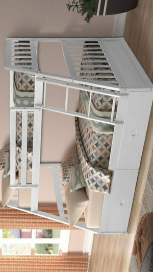White Twin over Full Bunk Bed with Storage Drawers for Sale in Katy, TX