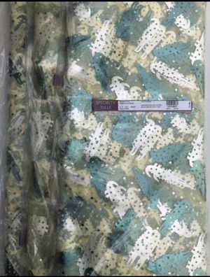 TULLE-Specialty Tulle Green Foil Alligator . 100 Polyester. 30 Yards. 56 Inches Width. Birthday Perties. Crafts. DIY. Kids Window Scraf. Window Curta for Sale in Middleburg, FL