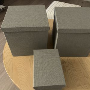 Set of 3 Gray Container Store Storage Boxes for Sale in Houston, TX