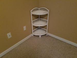 Wicker white 3 tier corner table for Sale in Jackson, MS