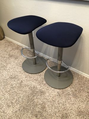 Pair of Navy Blue Barstools 24-30 height Hydraulic lift stools for Sale in Gilbert, AZ