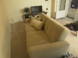 Fabric 2 seat couch/futon with t.v. stand for Sale in Chicago, IL