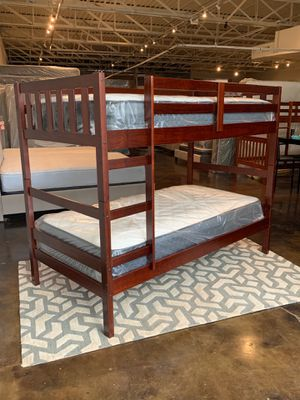Twin over Twin Espresso Bunk Bed & Twin Mattresses for Sale in Mesquite, TX