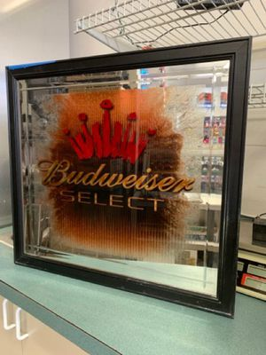 Budweiser Select Beveled Mirror w/ Black Frame Bar Sign 24 x 23 inches for Sale in Montgomery Village, MD