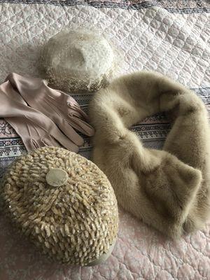 Vintage hats, fur , pink gloves for Sale in DeLand, FL