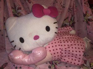 "Jumbo hello kitty plush stuffed animal doll on pink phone laying on tummy , pink poka dot dress and pink bow in hair . Sanrio 18"" long! 12"" high! for Sale in Phoenix, AZ"