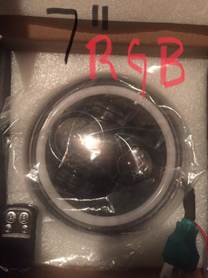 """7"""" round Black led headlight with RGB halo change color with remote control for Sale in Los Angeles, CA"""