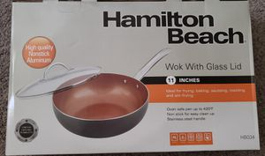 New Non Stick Wok Pan w/glass lid for Sale in Lakeside, CA