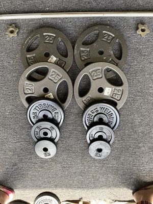Weights 135LBS Total and Long Bar for Sale in Cockeysville, MD
