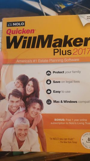 Nolo Quicken willmaker Plus software for windows 7-10 or Mac for Sale in Houston, TX