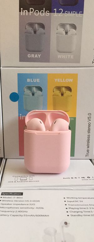 i12 Bluetooth headphones/earbuds/headset/compatible with Apple or Android phones/many colors available/brand new for Sale in Moreno Valley, CA