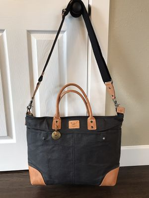 Will Leather Goods Black & Tan Wax Canvas Laptop Tote Bag for Sale in Oregon City, OR